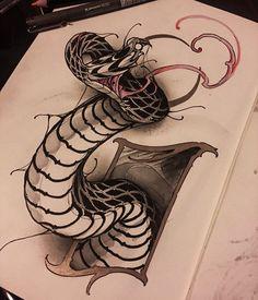 "466 Likes, 15 Comments - Angelo Barulli (@angelo_barulli) on Instagram: ""Venom #newtraditaly #neotraditional #neotradsub #thenewtraditionalistseurope #snake #sketch…"""