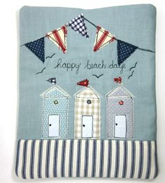 iPad Cover Beach Huts and Bunting Wendy Cook, Modern Vintage. Freehand Machine Embroidery, Free Motion Embroidery, Free Machine Embroidery, Embroidery Applique, Embroidery Designs, Sewing Appliques, Applique Patterns, Sewing Crafts, Sewing Projects