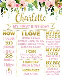 Personalized Birthday Board Boho Garden Floral Pink and Gold Girl First Birthday Milestone Poster Birthday Chalkboard Sign Digital File Floral First Birthday Poster Board Pink & Gold Girl First First Birthday Board, First Birthday Posters, First Birthday Themes, Baby Girl 1st Birthday, 1st Birthday Parties, Birthday Decorations, Birthday Ideas, Birthday Banners, Frozen Birthday