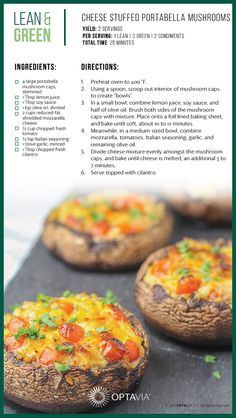 Cheese Stuffed Portabella Mushrooms