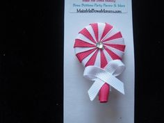 Pink and White lollipop ribbon sculpture boutique hair bow, hair clip | bowsandbling2 - Children's on ArtFire