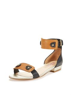 Lucie Sandal from Instant Outfit: Button-Down + Printed Pants + Flat Sandals on Gilt