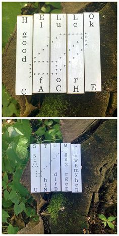 Now here's a cool little way to make a simple field puzzle that has the clue to where the final geocache container is.  Assemble the picture on the one side and get the clue on the back.  This could probably be done in a simpler way with popsicle sticks and permanent marker.  (pics from websta stitched together & pinned to Geocache Puzzles - https://www.pinterest.com/islandbuttons/geocache-puzzles/) #IBGCp