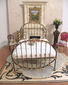 """Miniature Artisan Made Wrought Iron Bed """"Gabi"""", Half Scale, 1:12 Dollhouse Scale, Barbie Scale, 18"""" Doll Scale"""