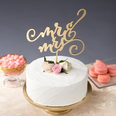 mr and mrs cake topper   statement cake toppers via http://emmalinebride.com/decor/statement-cake-toppers/