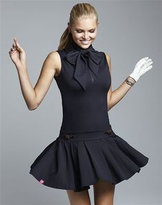 Schriffen Anna Golf Dress with Bow Tie Black | Golf4Her