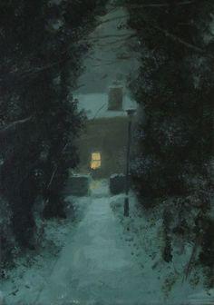 such a garden — having-it-all: Greg Becker Lamp & Alley - Art & Photo( Shadows/ Reflections/Light/Nocturne) - Winter Landscape, Landscape Art, Landscape Paintings, Nocturne, Illustration Art, Illustrations, Winter Art, Winter Night, Pretty Art