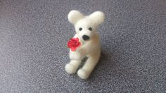 Needle felted miniature white teddy bear with red by FeltedByRikke, $21.50