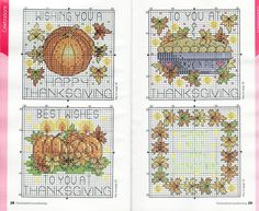 <3 Cross-stitch Fall card charts... no color chart available, just use pattern chart as your color guide.. or choose your own colors...