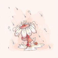 Ratoncín en la lluvia