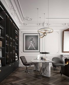 Luxurious Home Office in white marble, stucco details, book shelf from floor to ceiling, black and white photography and stunning dark parquet. Modern Office Decor, Office Interior Design, Luxury Interior Design, Home Office Decor, Office Interiors, Interior Design Inspiration, Interior Decorating, Luxury Home Decor, Luxury Homes