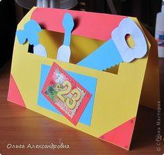 Мастер-класс Открытка 23 февраля Аппликация Ящик с инструментами открытка для папы МК Бумага фото 9 Diy Paper, Paper Crafts, Diy And Crafts, Crafts For Kids, Fathers Day Crafts, Kids And Parenting, Art For Kids, Book Art, Preschool