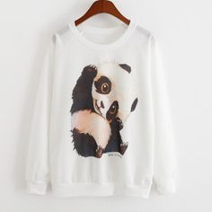 Cute Panda Printed Crew Neck Sweatshirt