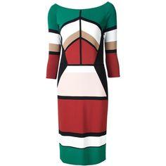 Elie Saab Geometric Print Boat Neck Dress (€1.505) ❤ liked on Polyvore featuring dresses, black, geometric pattern dress, boatneck dress, elie saab, multi-color dress and elie saab dresses