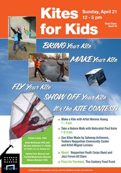 Kites Festival flyer for the Hudson River Museum - Sunday, April 21, 2013