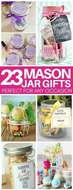 Need a thoughtful but cheap gift idea last minute? These mason jar gift ideas are perfect!! Gifts for teacher appreciation, birthdays, hostess gifts, and more! #giftideas #masonjar