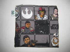 Padded Zip Pouch purse Gadget Coin Case - Star Wars The Force Awakens BB-8 Luke Skywalker Captain Phasma Queen Leia Character print