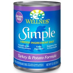 Wellness Simple Natural Wet Canned Limited Ingredient Dog Food, 12.5-Ounce Can (Pack of 12) -- Check out this great image  : Best dog food
