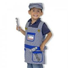 Train Engineer Role Play Costume Set- Melissa and Doug Dress Up Aprons, Dress Up Outfits, Outfits With Hats, Dresses, Fancy Dress For Boy, Engineer Costume, Talkie Walkie, Halloween News, Halloween Boo
