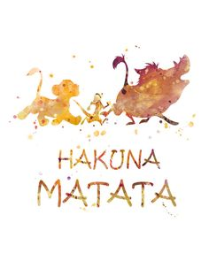 Lion King Hakuna Matata Print Watercolor Art The Lion by MONNPRINT #hakunamatata #thelionking #disney #giftideas #nursery