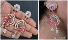 Beautiful designer earrings3 inches long INDIAN traditional Ruby gold plated bollywood