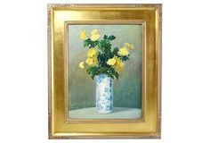 Exquisite period still life oil rendering of yellow flowers in a blue and white chinoiserie vase.