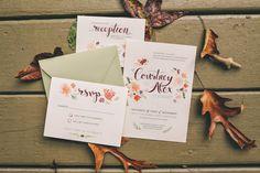 Caitlin Alderfer watercolored wedding invitation design