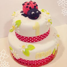 coccinelle, cake, babyshower, daisy, daisy cake, cake, birthday cake, red, party, familly