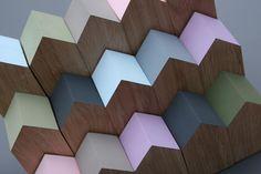 eiken houten huisjes in vele pastelkleuren