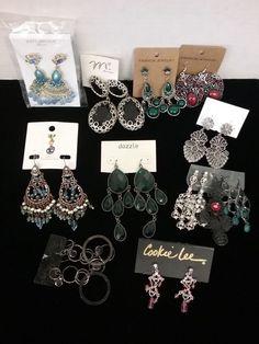 Lot of 12 pair pierced ear Fashion, Cookie Lee, Dazzle dangling earring sets-NEW  | eBay