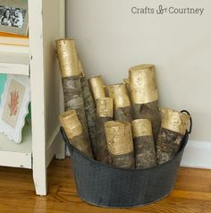DIY Gold Painted Decorative Firewood for Fall Decor