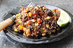 red quinoa, black bean and bell pepper salad.