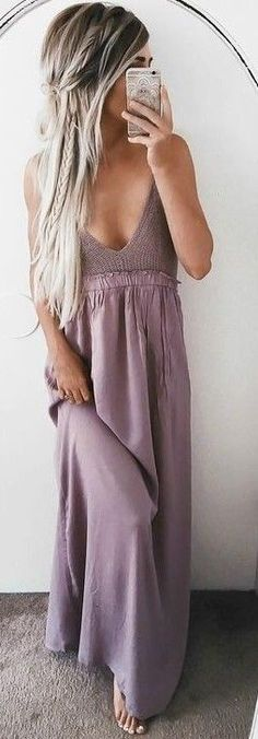 #summer #girly #outfits | Lilac Maxi Skirt