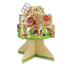 Keep your little one engaged with this Tree Top Adventure toy from Manhattan Toy. This wooden activity center features a colorful tree theme with 6 bead runs and animal-themed gliders for hands-on learning.
