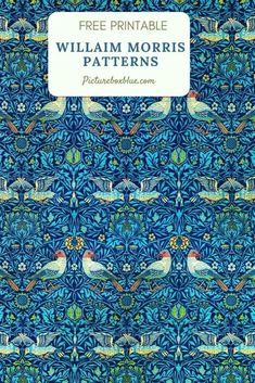 William Morris designs patterns and flowers to download and print for free. All these wonderful examples are in the Public Domain.