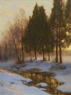 """A Gleaming Stream in Winter"" by Walter Launt Palmer"