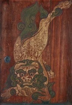 Tawaraya Sotatsu 重要文化財 唐獅子図杉戸(左) 俵屋宗達筆 京都・養源院
