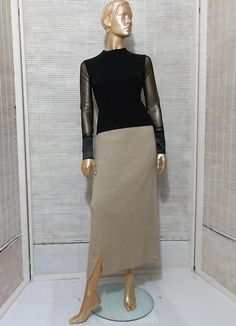 90s cashmere skirt long tube knit skirt beige high by IuSshop