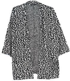veste kimono noir et gris léopard bershka