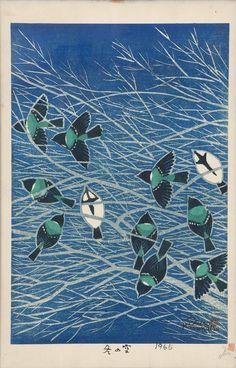SHIRO KASAMATSU Sky in Winter - Flock of small birds on Bare Branches [1965]