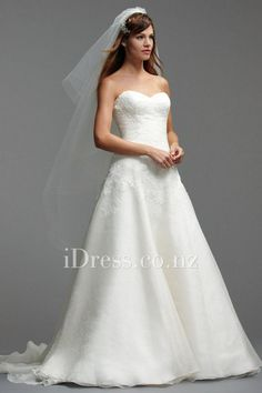 lace and organza a-line strapless sweetheart wedding dress