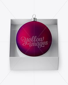 Matte Purple Christmas Ball in Paper Box Mockup (High-Angle Shot)