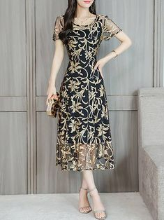 Chicloth Midi Dress A-line Date Dress Short Sleeve Chiffon Jacquard Plus Size Dresses-Cheap Casual Dresses Date Dresses, Casual Dresses, Fashion Dresses, Short Sleeve Dresses, Floral Dresses, Chiffon Dress, Lace Dress, Tulle Lace, Cheap Dresses Online