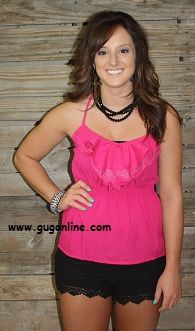 Lace Up My Life Fuchsia Tank $22.9  Save 10% by using promo code GUGREPBRITT at checkout!  www.gugonline.com