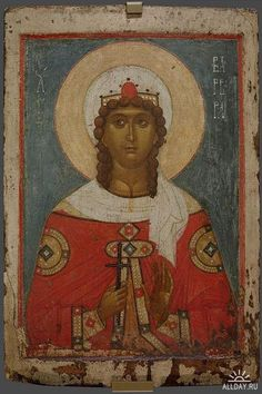 Icon of the Holy Great Martyr Varvara of Iliopol Sta Barbara, Saint Barbara, Byzantine Icons, Byzantine Art, Religious Icons, Religious Art, Eagle Icon, Religion Catolica, Russian Icons