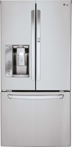 LG LFXS24663S 33 Inch French Door Refrigerator with 24.0 cu. ft. Capacity, SpillProtector Glass Shelves, Door-in-Door with Gallon Storage, Smart Cooling, Glide N' Serve Crisper Drawers, External Ice and Water Dispenser and Energy Star Rated