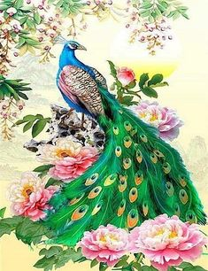 NEW Diamond Painting Kits, Color Peacock - DIY Diamond Painting, 17 Designs to select from. Cross Paintings, Animal Paintings, Gustav Klimt, Pictures To Paint, Art Pictures, Home Decor Christmas Gifts, Mosaic Crosses, Peacock Bird, Green Peacock