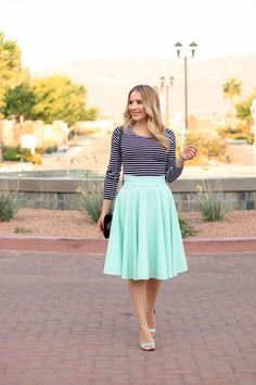 Mint skirt,striped top