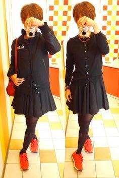 今日はスタジャンとワンピの甘辛MIX  Outer/G-Star RAW Tops/UNIQLO One-piece/roughly Bag/Hashibami Shoes/NB  The style is a mix of spicy and sweet red and black today.