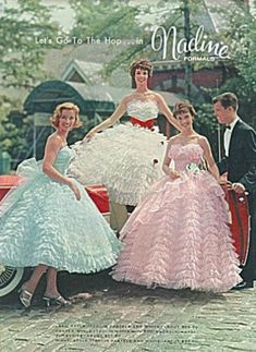 Retro Fashion Nadine Formals - Want to be living in fifties fashion? Enjoy a look back at the era that still fascinates us all. Vintage Prom, Moda Vintage, Vintage Dresses, Vintage Outfits, Vintage Hats, Fifties Fashion, Retro Fashion, Vintage Fashion, Victorian Fashion